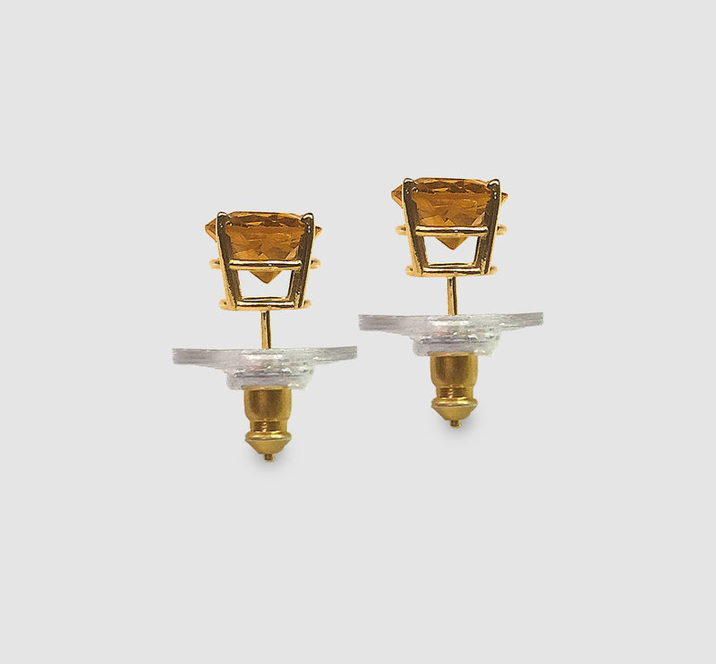 Golden Citrine Stud Earrings