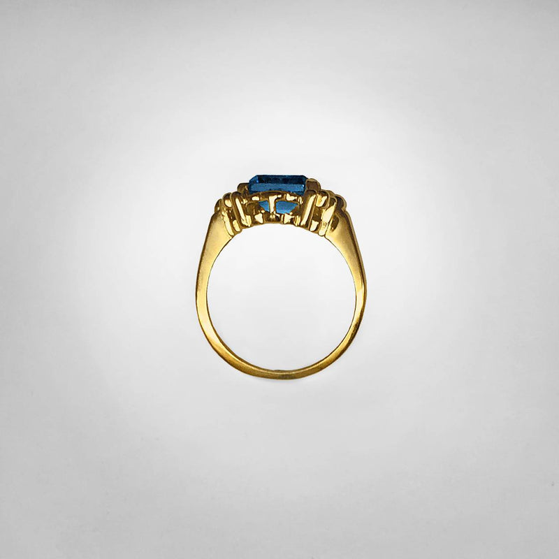 Rectangular Blue Spinel Ring