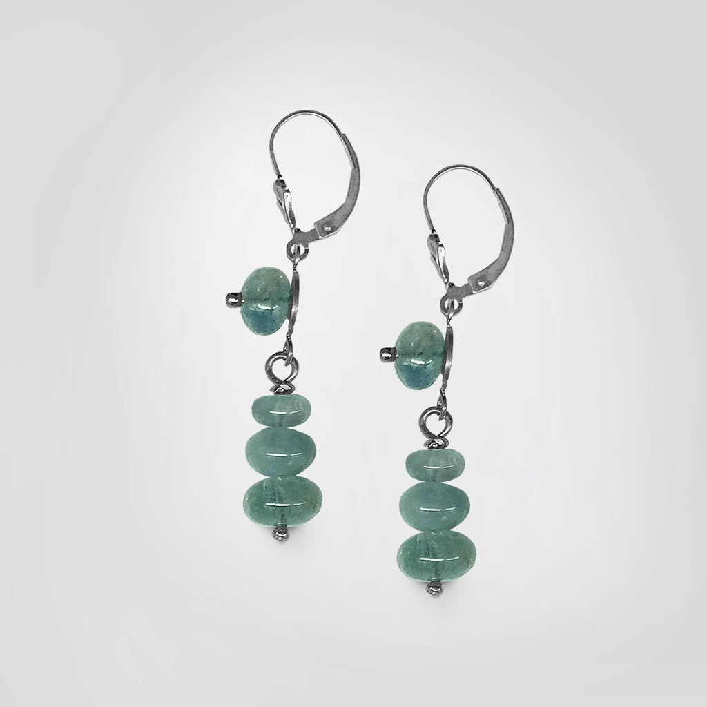 Aquamarine Rondelle Pendant Earrings