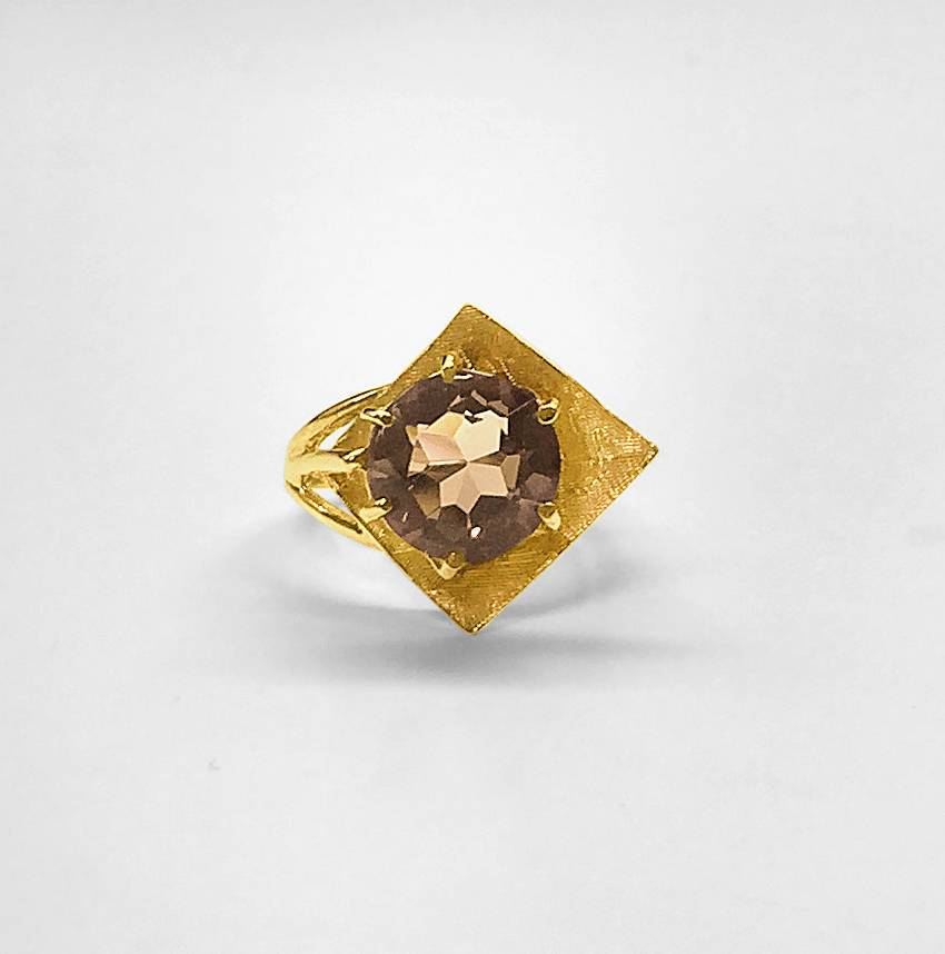 Sculptural Smoky Topaz Ring