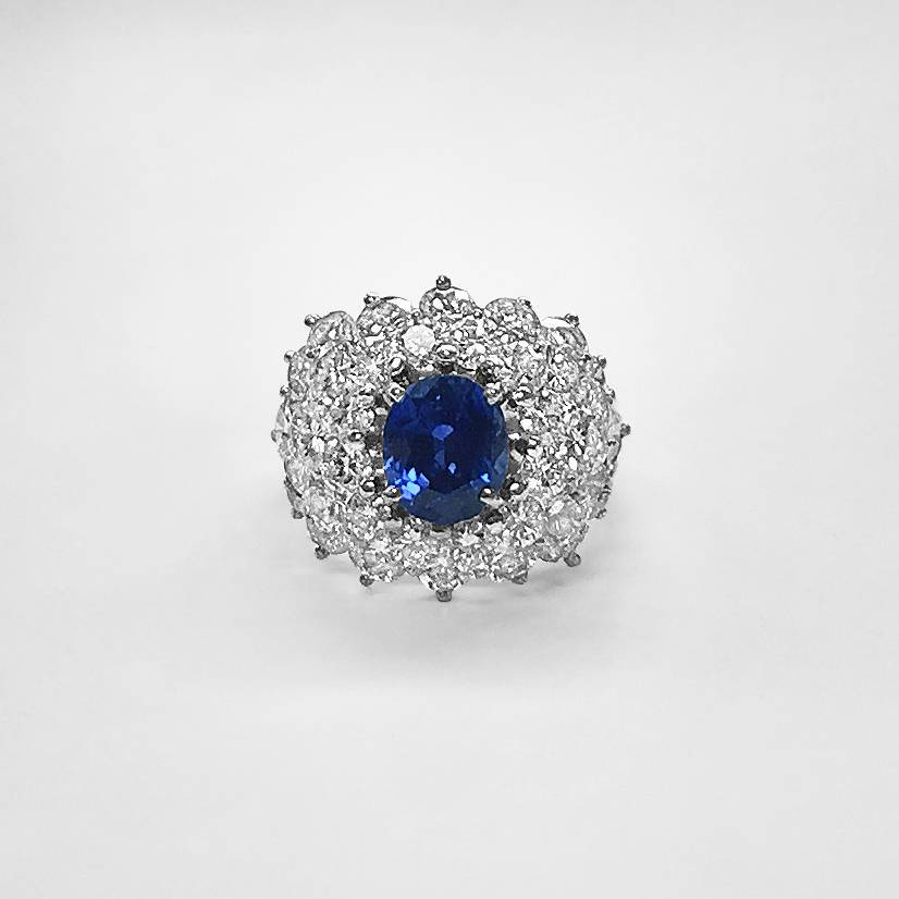 Platinum Ceylon Sapphire and Diamond Domed Ring