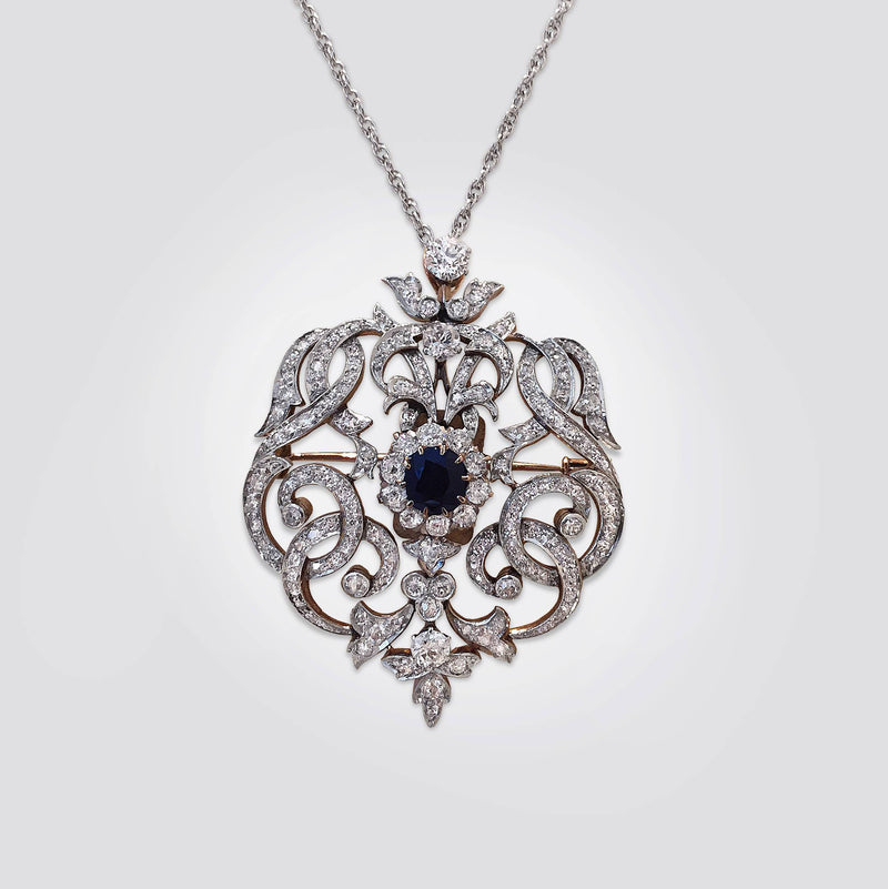 Sapphire and Diamond Art Deco Pendant Pin