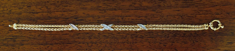 "Double Chain Diamond ""X"" Overlay Bracelet"