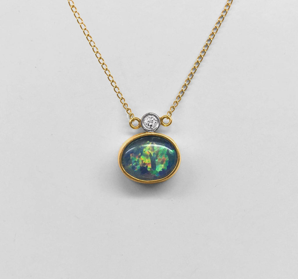 Australian Black Opal and Diamond Necklace