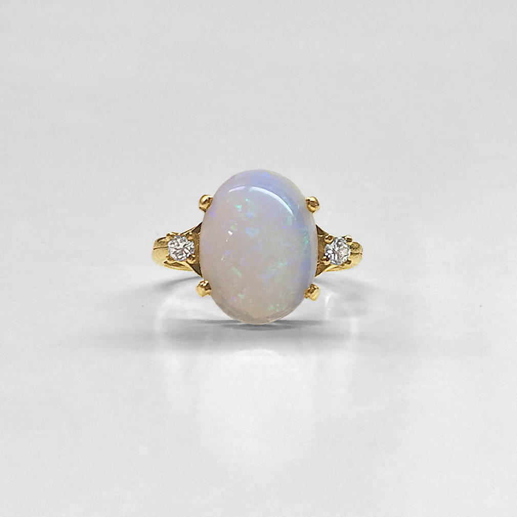 Oval Australian Opal and Diamond Ring
