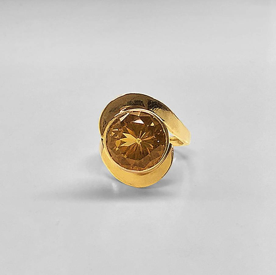 Swirling Golden Smoky Topaz Ring