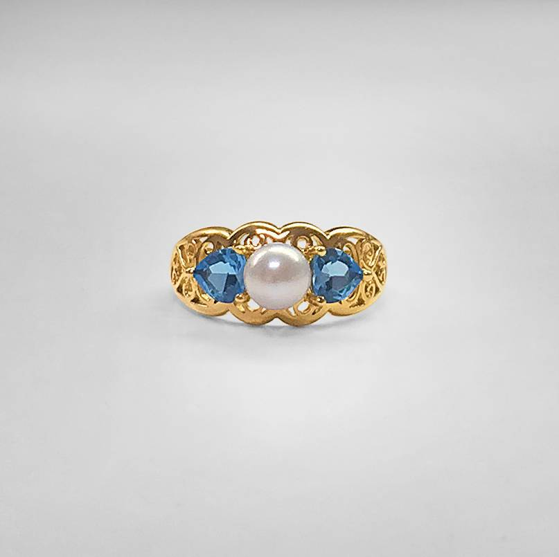 Akoya Pearl and Blue Topaz Ring
