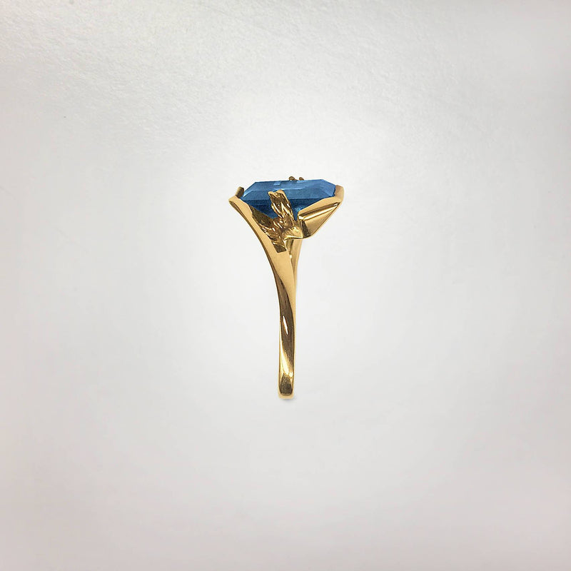 Geometric Semi-Bezel & Prong Set Blue Spinel Ring