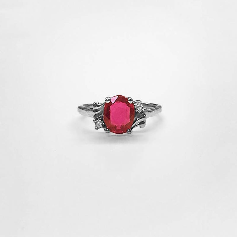 Oval Thai Ruby and Diamond Ring