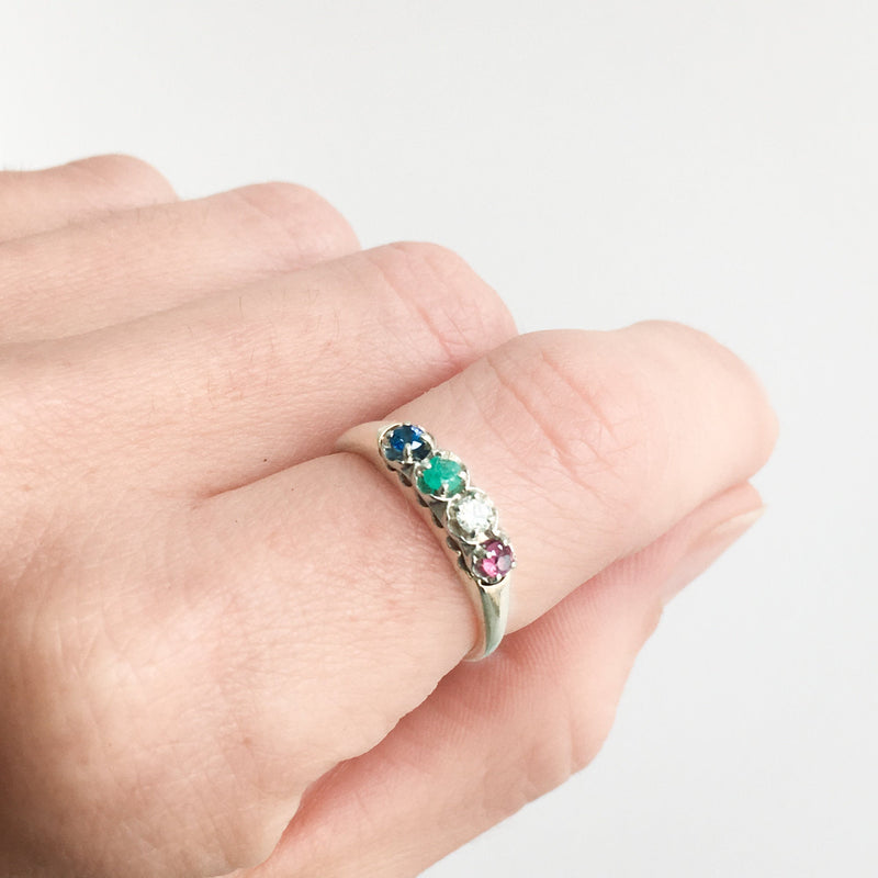 Diamond and Rainbow Corundum Stacking Ring