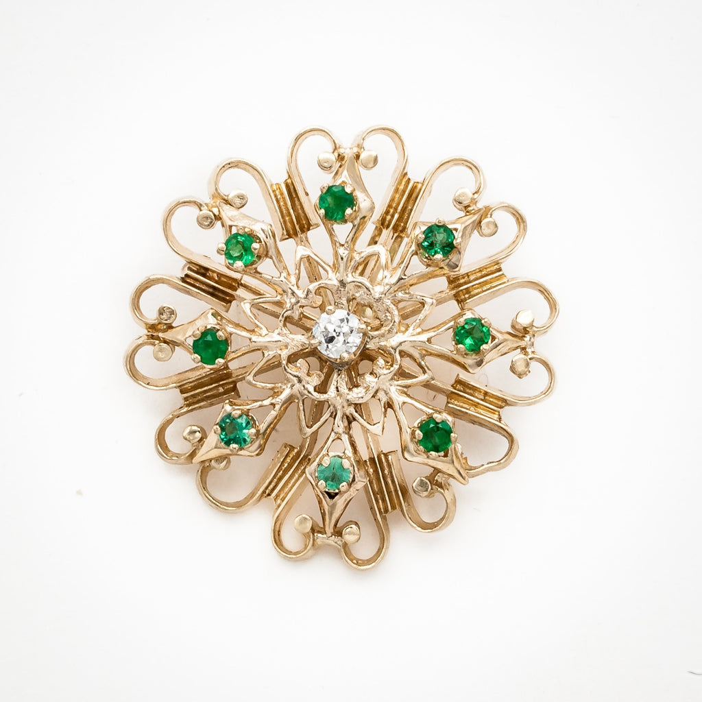 Emerald and Diamond Pendant Pin