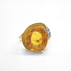 Citrine and White Sapphire Ring