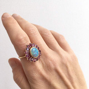 Australian Black Opal and Ruby Halo Ring