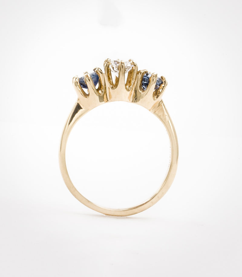 Three Stone Brilliant Cut Diamond and Sapphire Ring