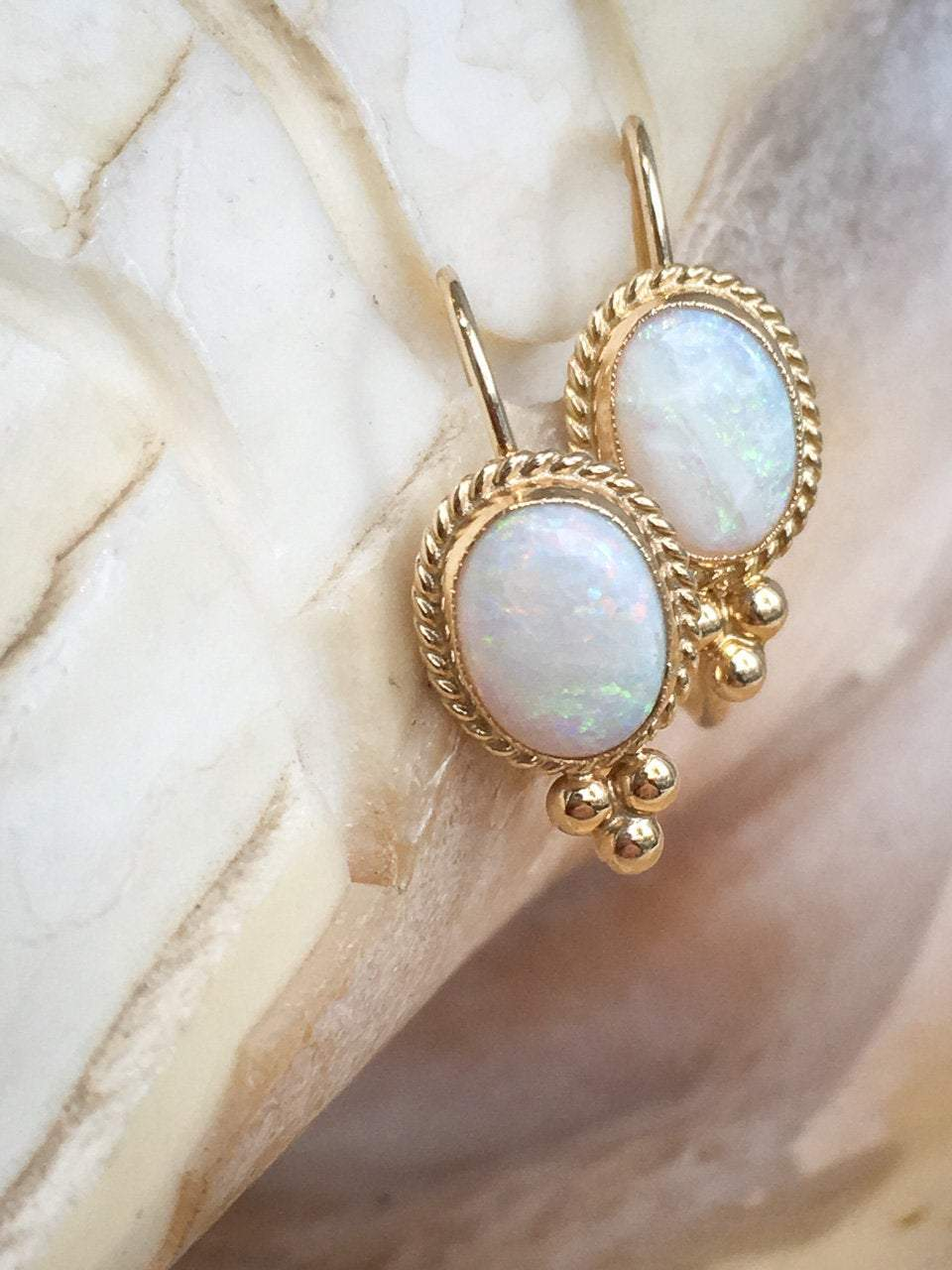 Australian Opal Twisted Rope Earrings