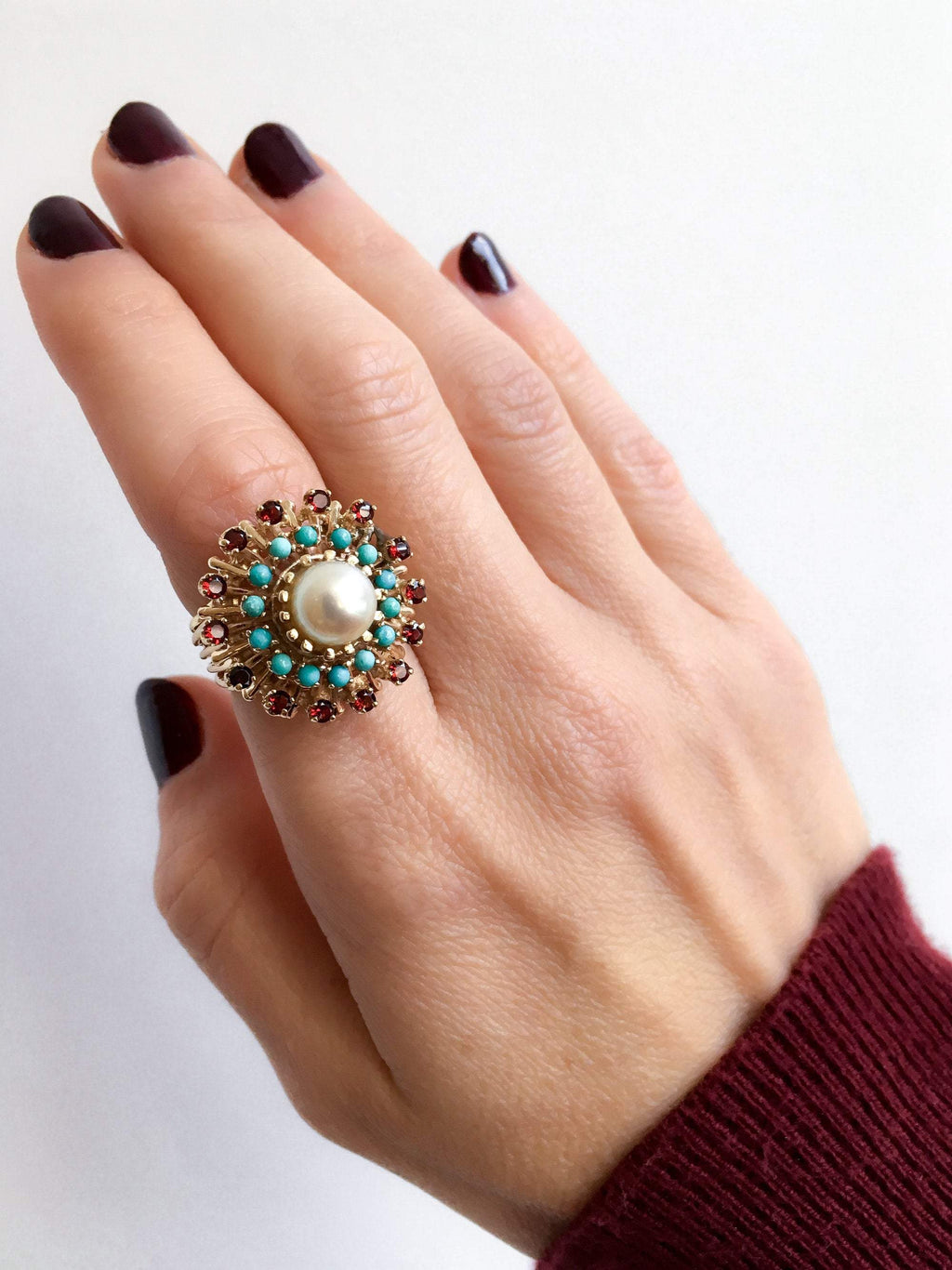 Pearl Cocktail Ring with Turquoise and Garnet Halos
