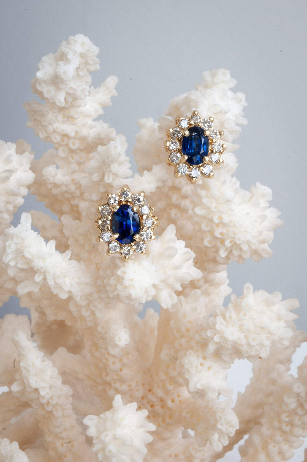 Oval Ceylon Sapphire and Diamond Halo Stud Earrings