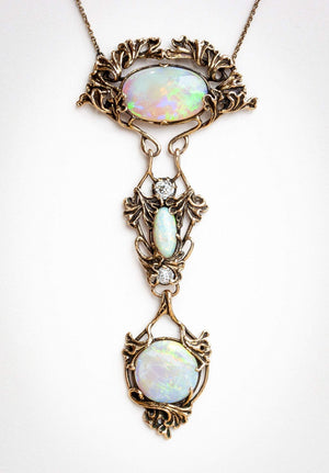 Walton & Co. Black Opal and Diamond Necklace and Pendant Earrings