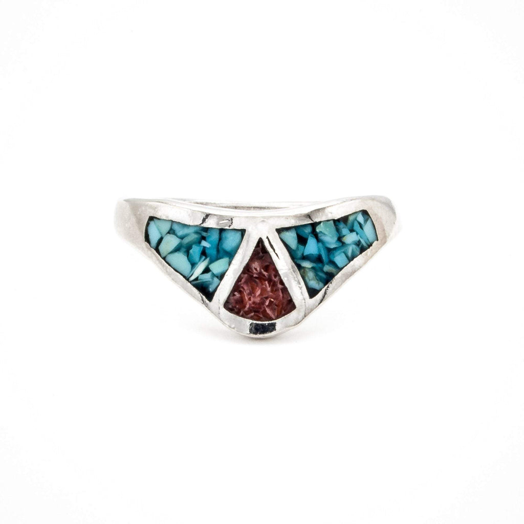 Triangular Coral and Turquoise Ring
