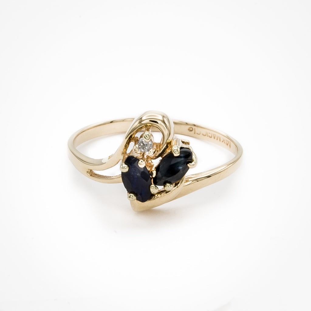 Swirls of Sapphire and Diamond Ring