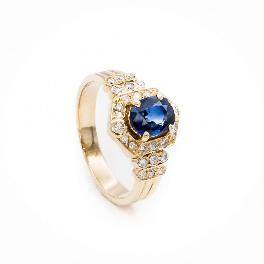 Oval Ceylon Sapphire and Diamond Ring