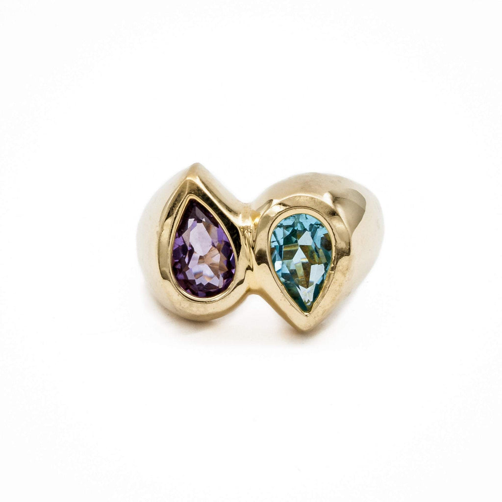 Amethyst and Blue Topaz Teardrop Ring