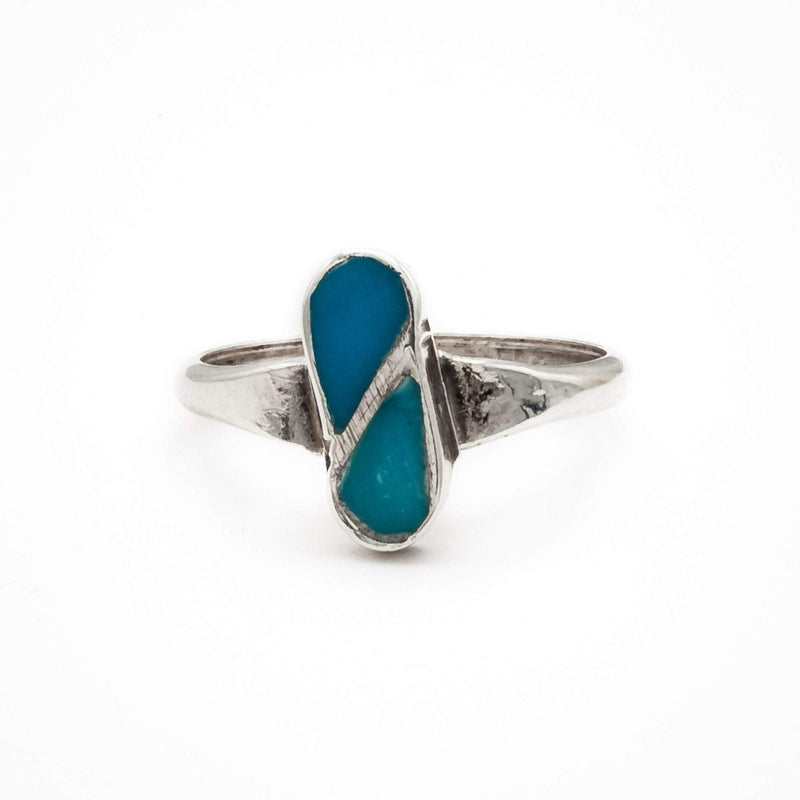 Inlaid Teardrop Turquoise Ring