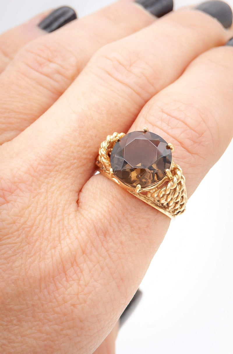 Twisted Rope Smoky Topaz Ring