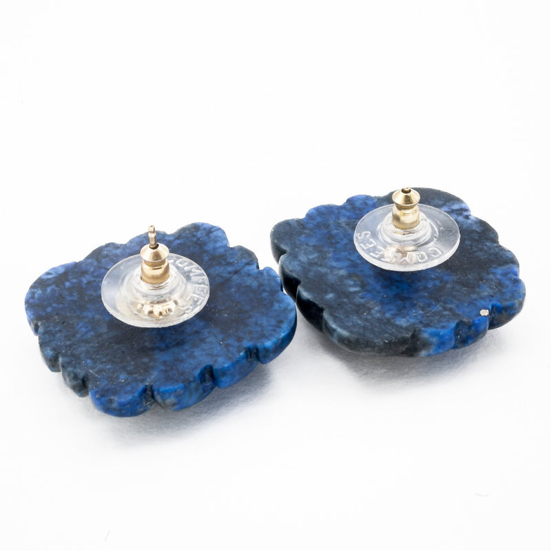Carved Lapis Lazuli Stud Earrings