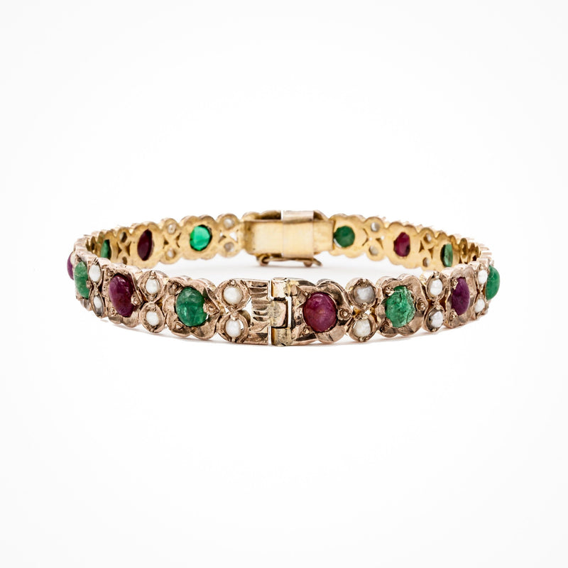 Ruby, Emerald, and Pearl Cabochon Bangle