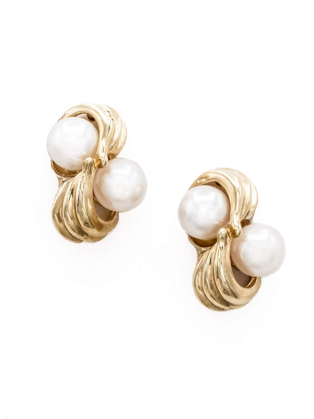 Gold Swirl Pearl Stud Earrings