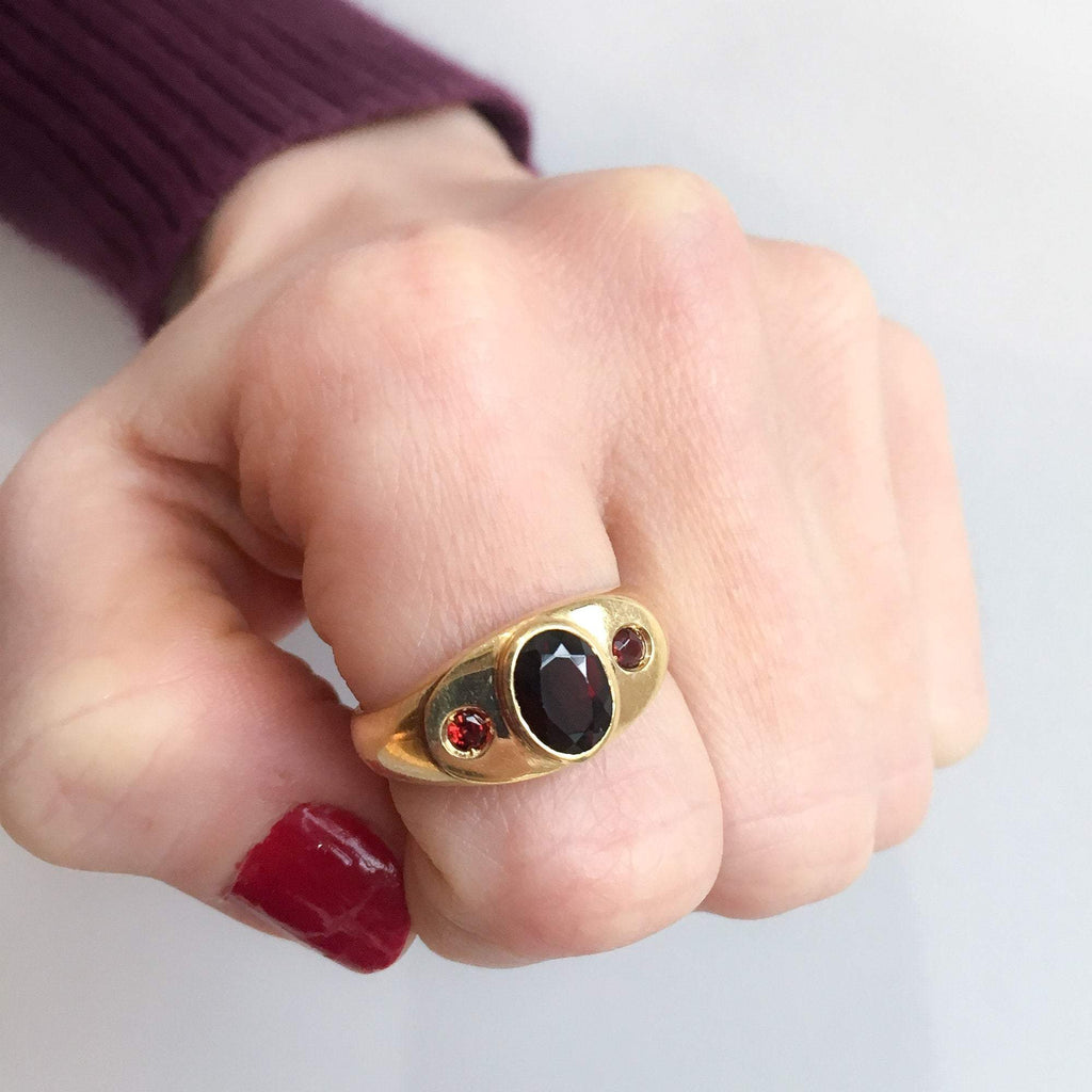 Bold Three Garnet Ring