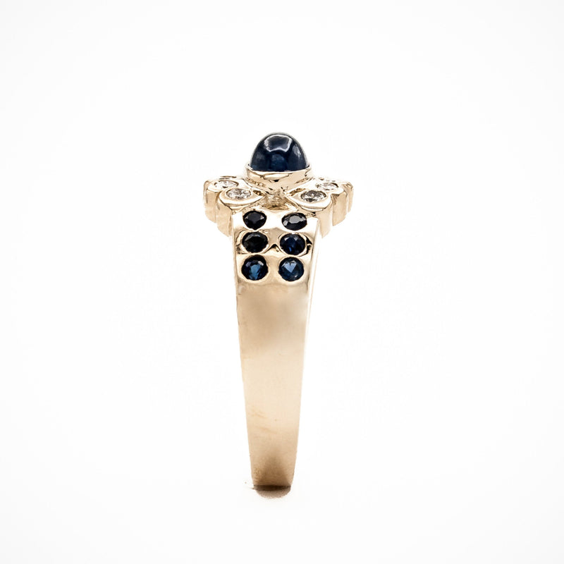 Ceylon Sapphire Cabochon and Diamond Cigar Band Ring