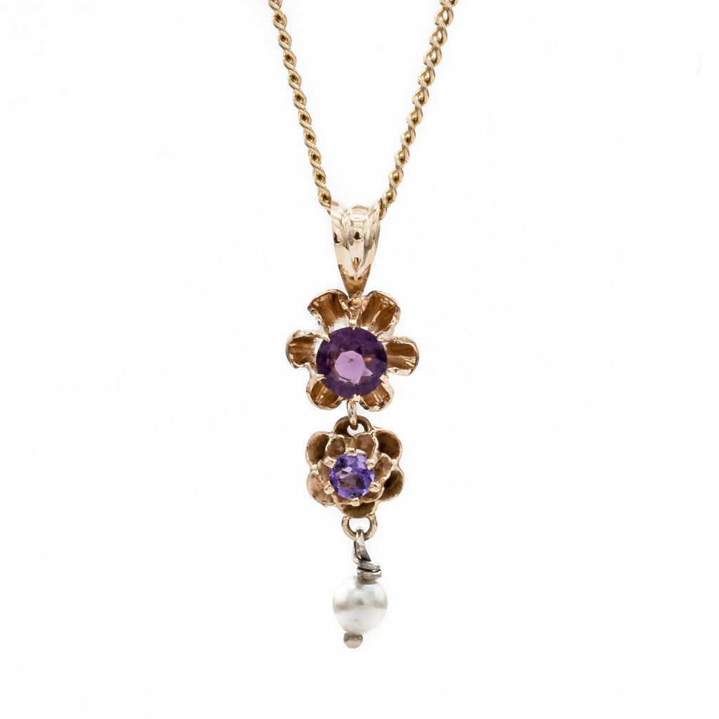 Amethyst and Gold Flowerette Lavalier