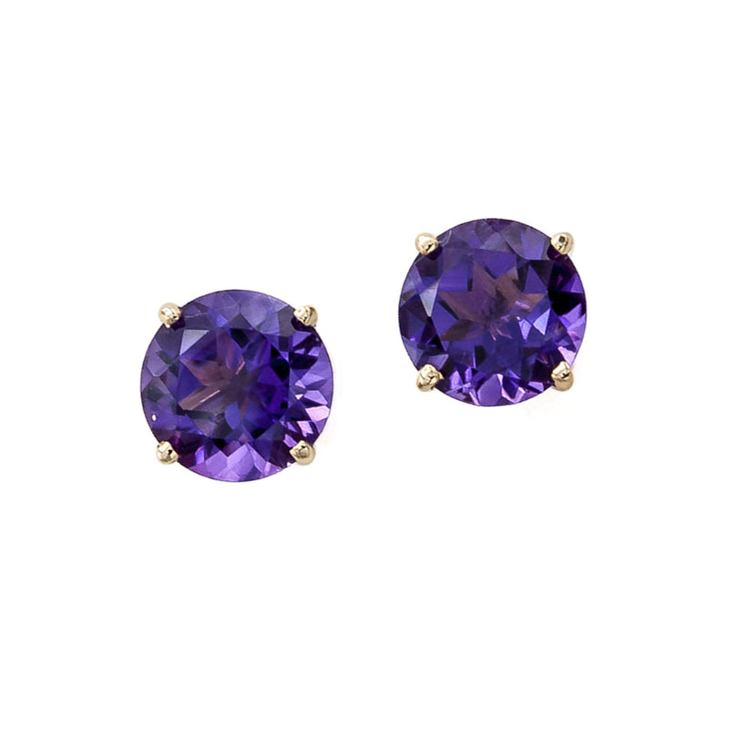 Siberian Faceted Amethyst Stud Earrings