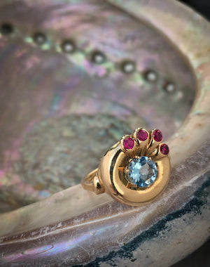 Aquamarine and Ruby Peacock Ring