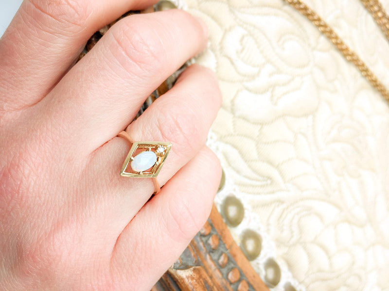 Australian Opal and Diamond Geometric Ring