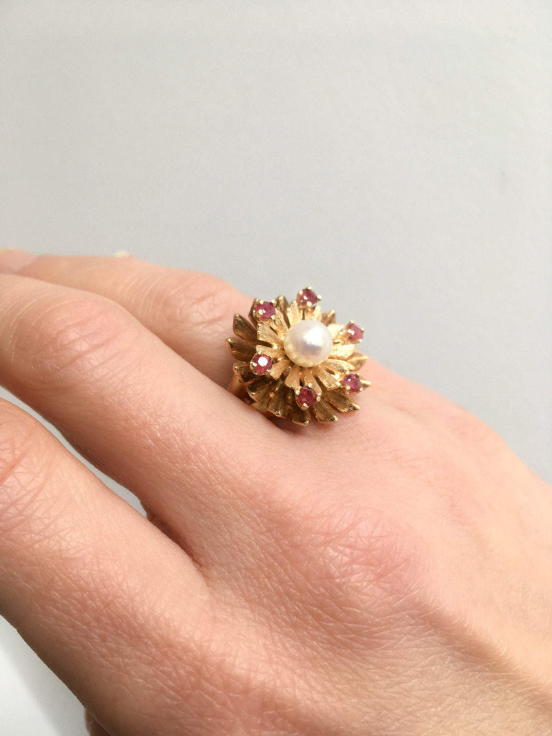Akoya Pearl and Ruby Florentine Ring