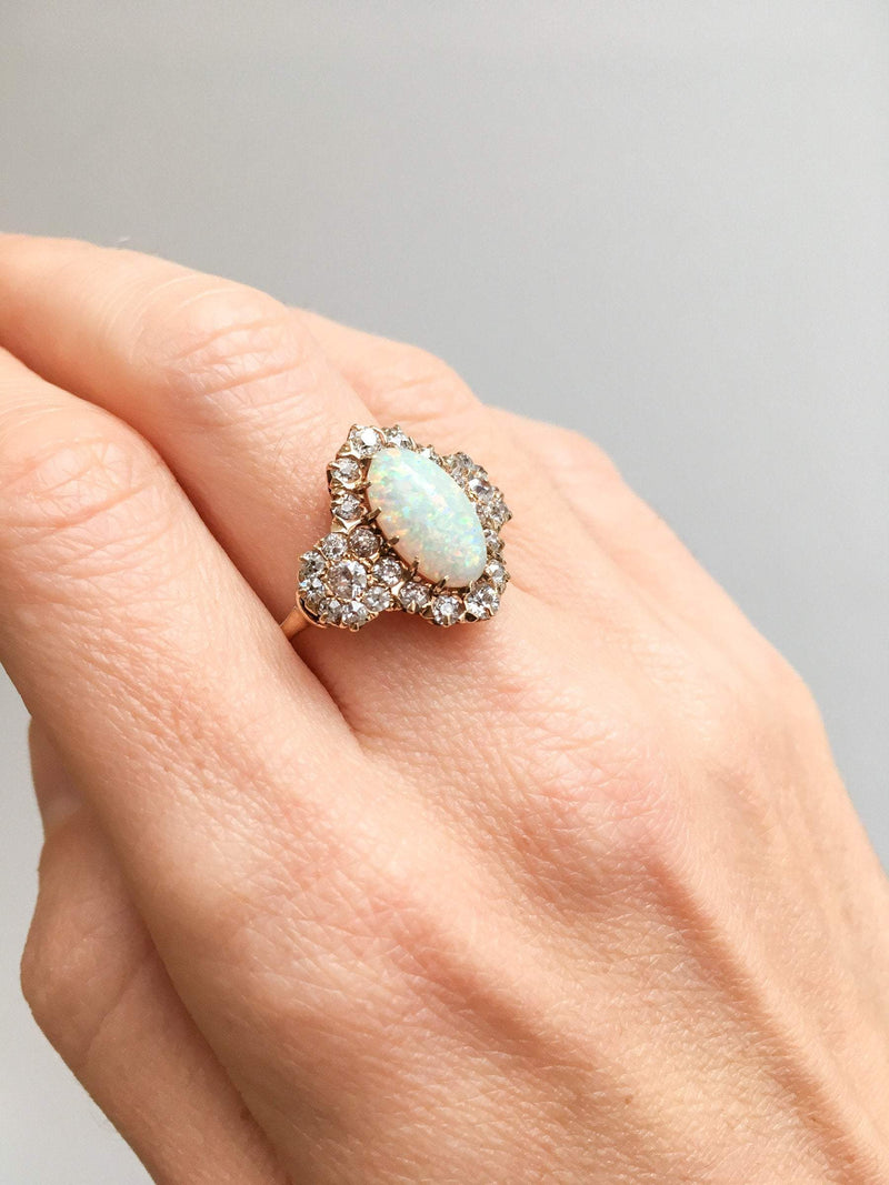 Australian Fire Opal and Old European Cut Diamond Halo Ring