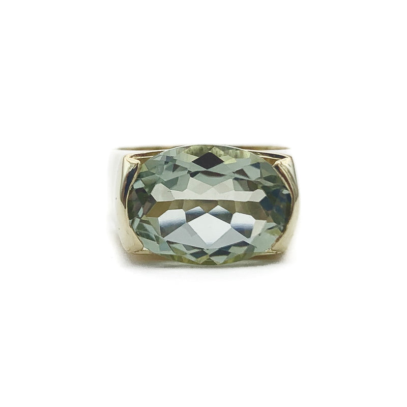 Oval Prasiolite Solitaire Ring
