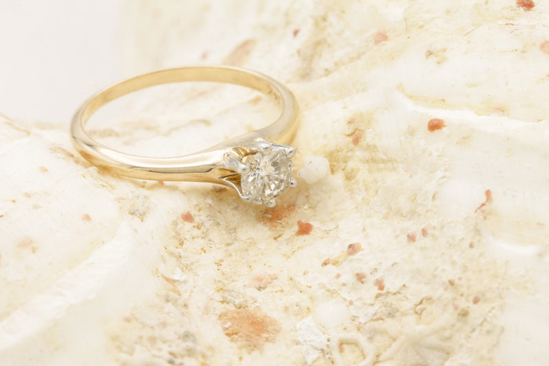 Tiffany Style Pink Gold Diamond Solitaire