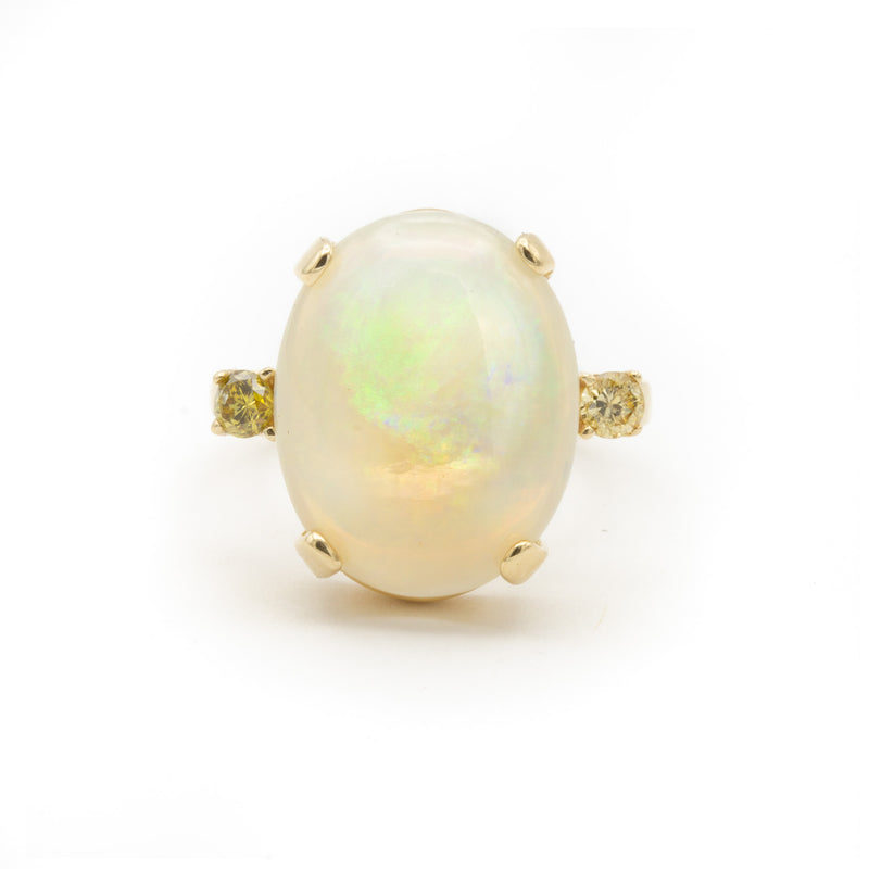 Large and Luminous Natural Australian Opal Ring