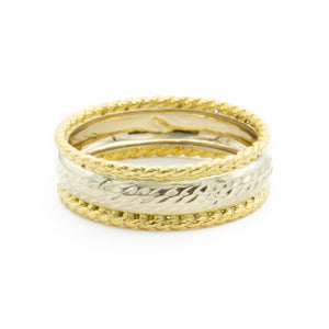 Unique Handmade 18 Karat White and Yellow Band Ring
