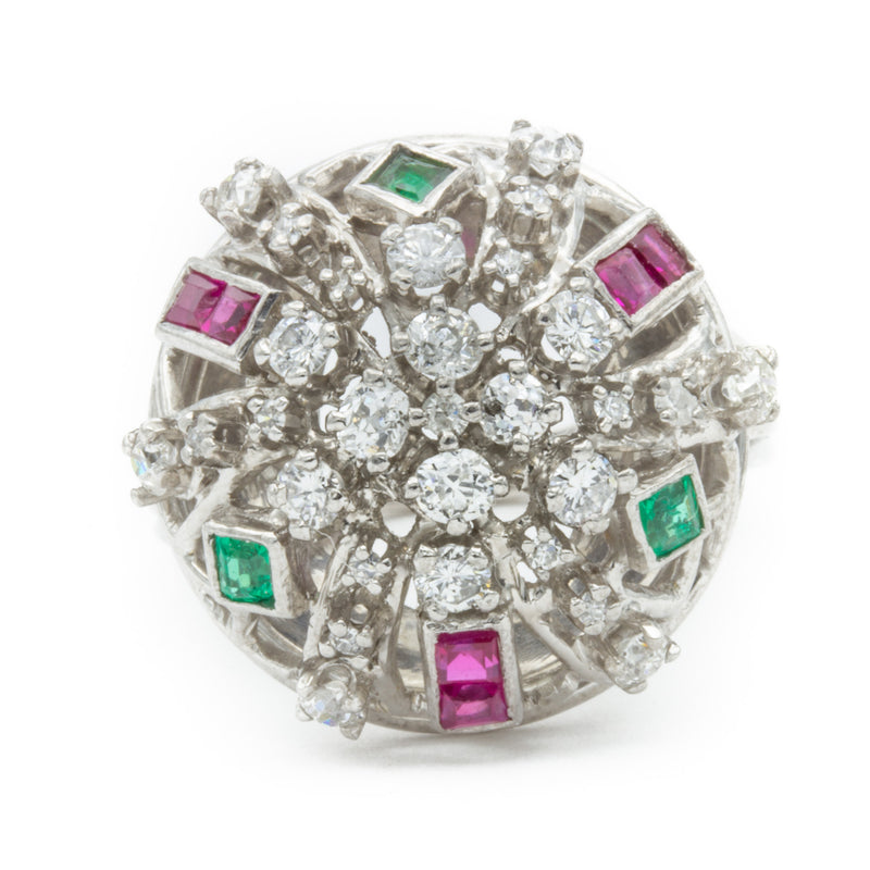 1950s White Gold Ring with Emerald Cut Rubies and Emeralds