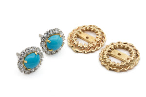Persian Turquoise Earrings with Diamond Halo