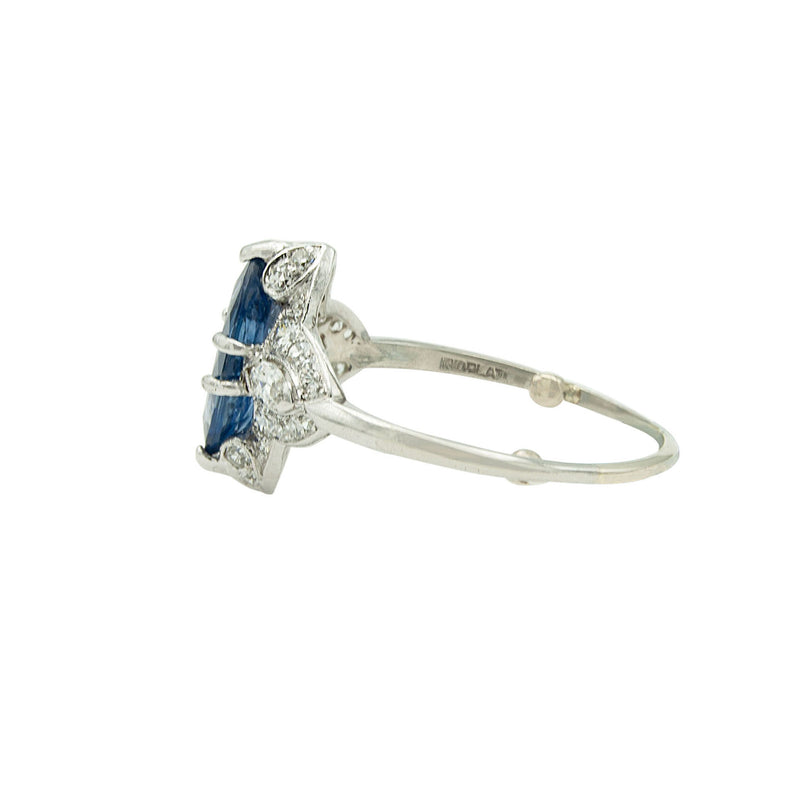 Vintage Deco Platinum Engagement Ring with Natural Marquise Blue Sapphire and Diamonds