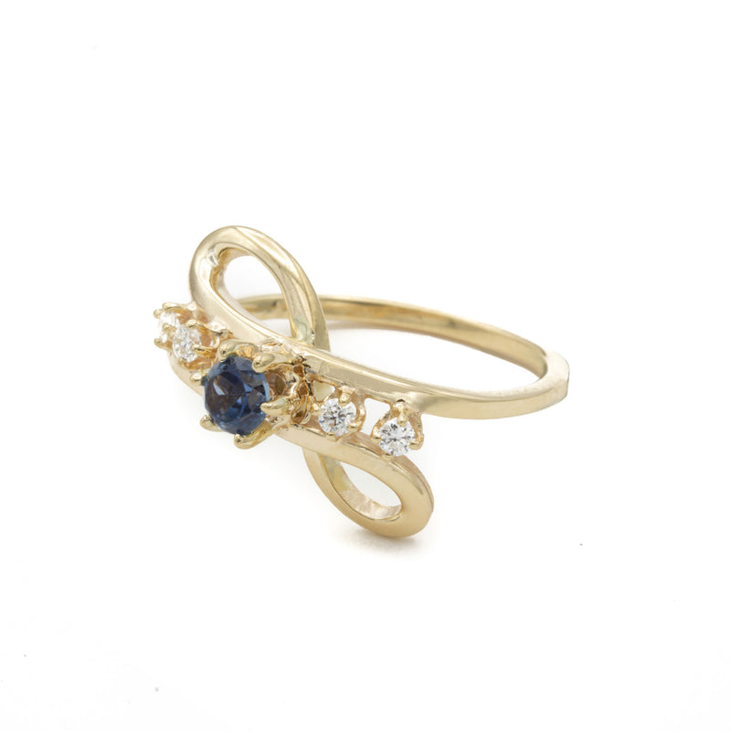 14 Karat Yellow Gold Handmade One of a Kind Sapphire and Diamond Ring