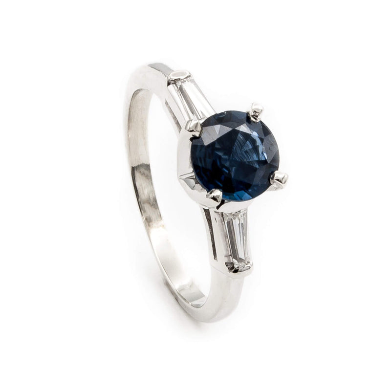 Vintage Sapphire and Baguette Diamond Ring