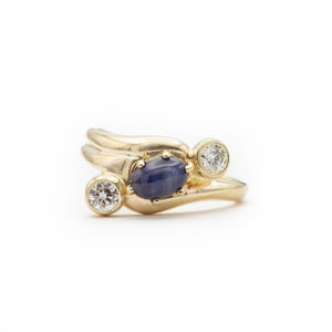 Simply Sublime Sapphire and Diamond Handmade Engagement or Dinner Ring