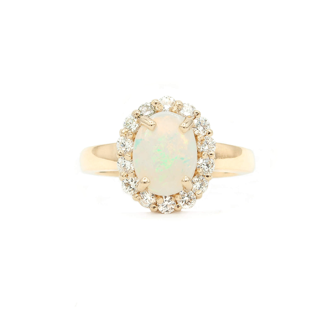 14 Karat Yellow Gold Natural Australian Opal Ring with Halo of Finest Brilliant Cut Diamonds